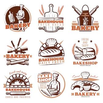 Conjunto de emblemas de padaria laranja