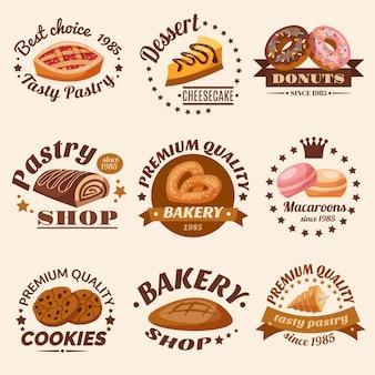 Conjunto de emblemas de pastelaria