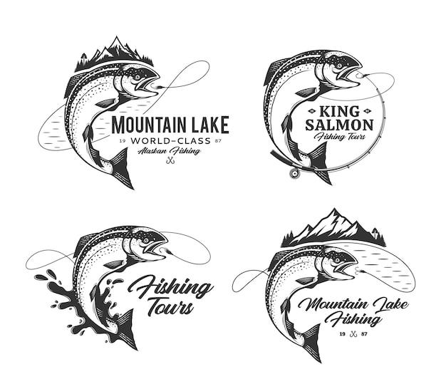 Conjunto de emblemas de pesca de salmão