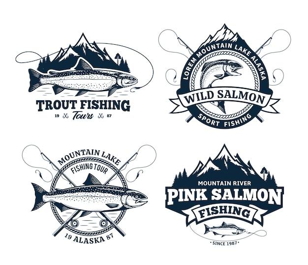 Conjunto de emblemas de pesca de vetor e elementos de design