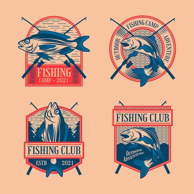 Conjunto de emblemas de pesca vintage
