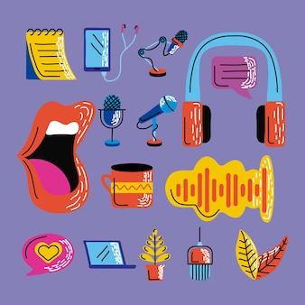 Conjunto de emblemas de podcast