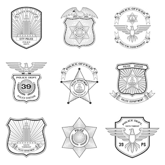 Conjunto de emblemas de polícia