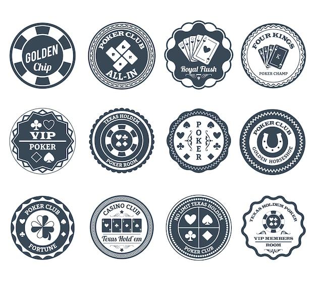 Conjunto de emblemas de pôquer preto