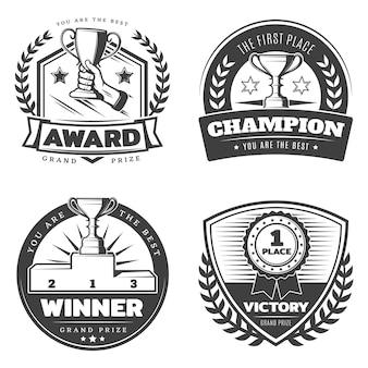 Conjunto de emblemas de prêmios esportivos vintage