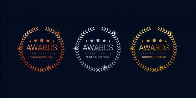 Conjunto de emblemas de prêmios, prêmios de bronze, prata e ouro