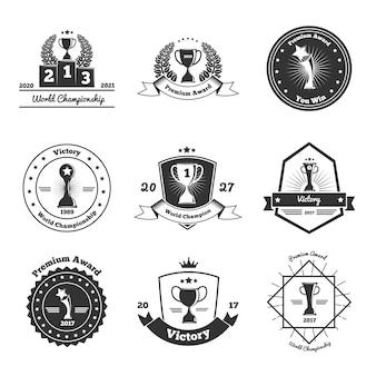 Conjunto de emblemas de prêmios troféu