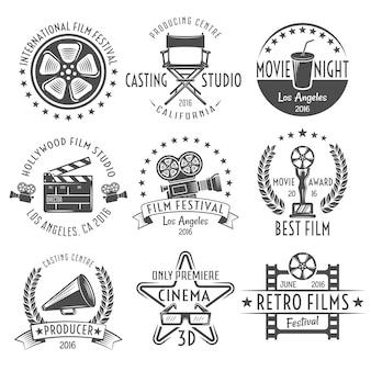 Conjunto de emblemas de preto e branco de filmes