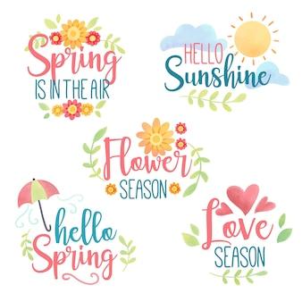 Conjunto de emblemas de primavera em aquarela