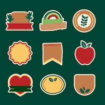 Conjunto de emblemas de produtos naturais vetoriais estilo inretro