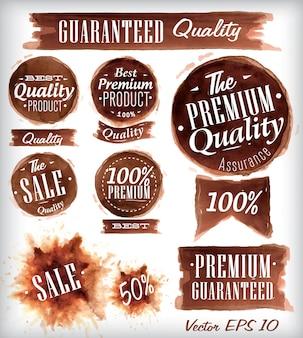 Conjunto de emblemas de qualidade de acuarela