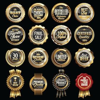 Conjunto de emblemas de qualidade de vendas de luxo