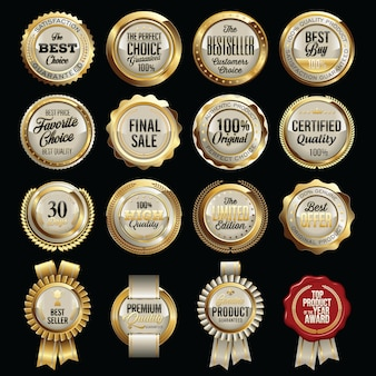 Conjunto de emblemas de qualidade de vendas de luxo.