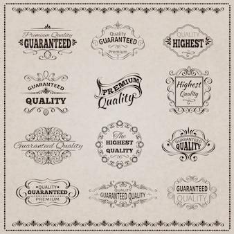 Conjunto de emblemas de qualidade