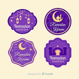 Conjunto de emblemas de ramadan design plano