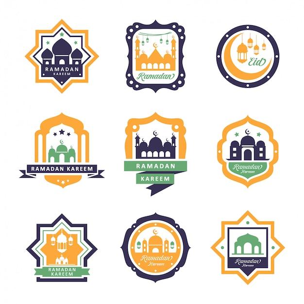 Conjunto de emblemas de ramadhan kareem e design de logotipo
