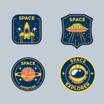 Conjunto de emblemas de remendo de missão espacial e emblemas de logotipo