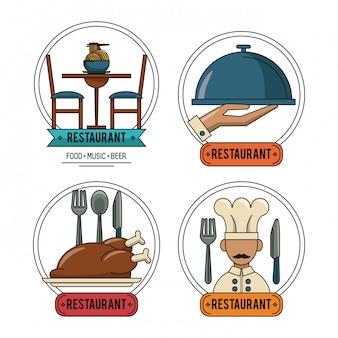 Conjunto de emblemas de restaurante