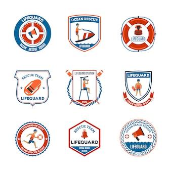 Conjunto de emblemas de salva-vidas