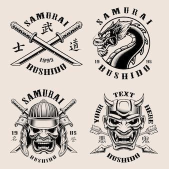 Conjunto de emblemas de samurai em preto e branco