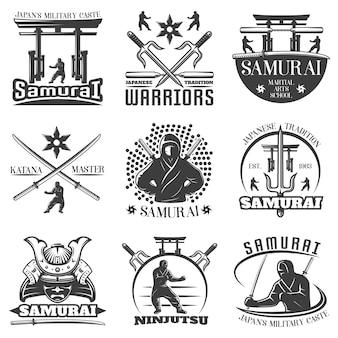 Conjunto de emblemas de samurai monocromático