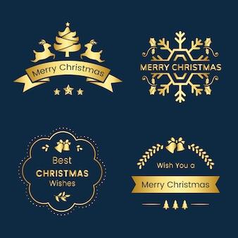 Conjunto de emblemas de saudação de natal