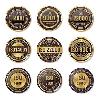 Conjunto de emblemas de selo de certificação iso