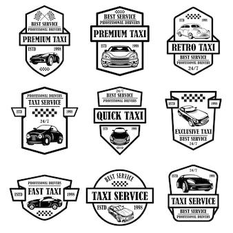 Conjunto de emblemas de serviço de táxi. elemento de design para cartaz, cartão, banner, logotipo, etiqueta.