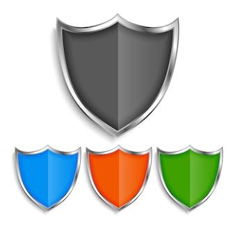 Conjunto de emblemas de símbolos de escudo metálico brilhante