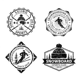 Conjunto de emblemas de snowboard vintage, emblemas e logotipo