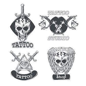 Conjunto de emblemas de tatuagem