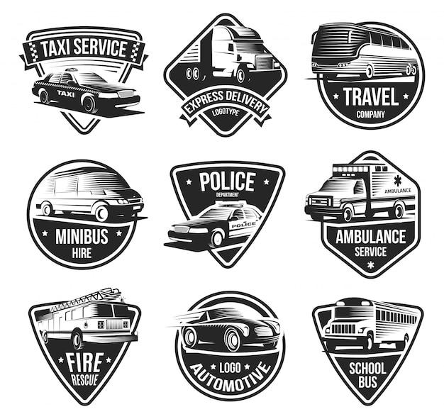 Conjunto de emblemas de transporte urbano