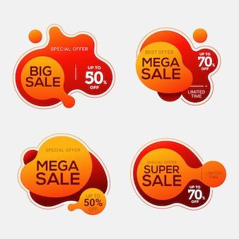 Conjunto de emblemas de venda com formas abstratas de cor líquida