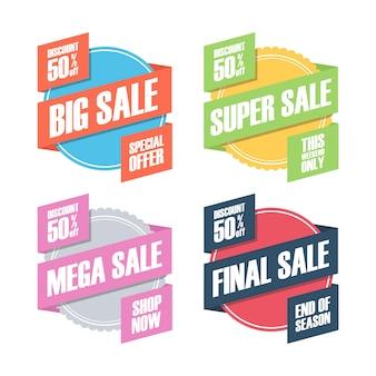 Conjunto de emblemas de venda ou etiquetas de desconto com fita.