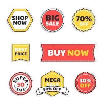 Conjunto de emblemas de venda plana