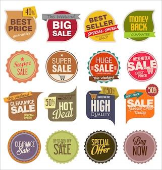 Conjunto de emblemas de venda