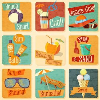 Conjunto de emblemas de verão brilhante bonito com elementos tipográficos. vetor.