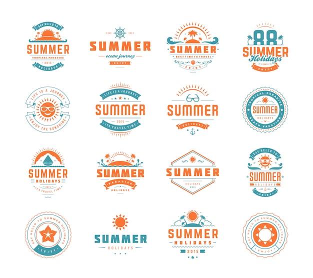 Conjunto de emblemas de verão