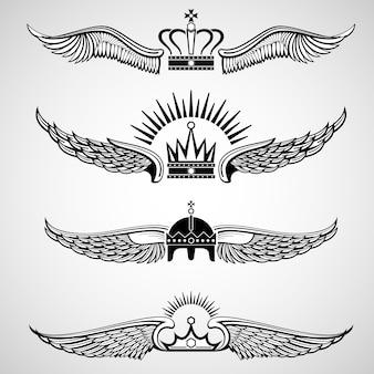 Conjunto de emblemas de vetor de asas com coroas
