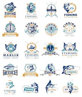 Conjunto de emblemas de vetores, adesivos para pegar peixe.