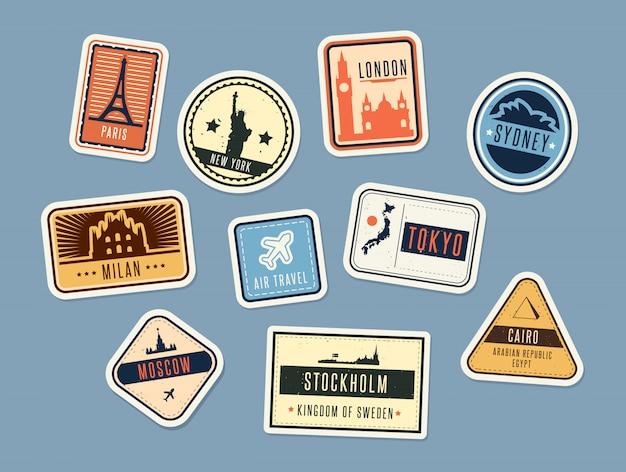 Conjunto de emblemas de viagem