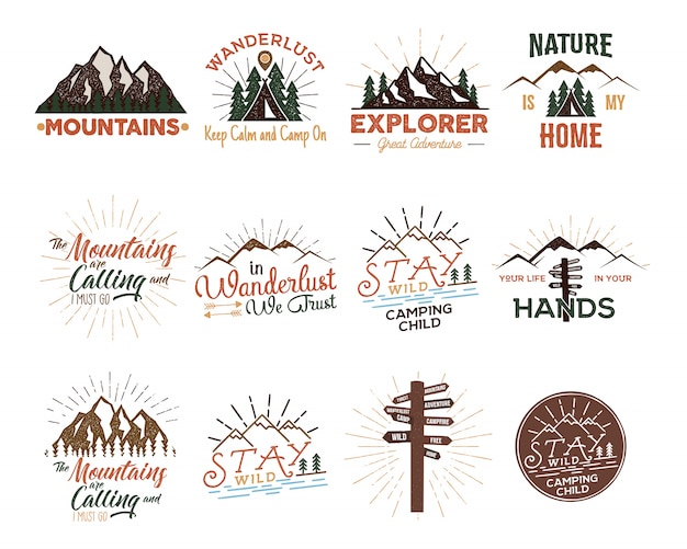 Conjunto de emblemas de viagens vintage