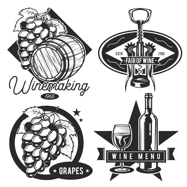 Conjunto de emblemas de vinho vintage Vetor grátis