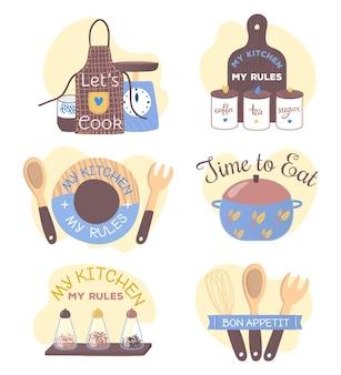 Conjunto de emblemas decorativos para cozinha