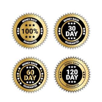 Conjunto de emblemas dinheiro de volta com garantia medalhas de ouro isolados