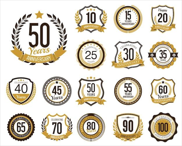 Conjunto de emblemas do aniversário de ouro