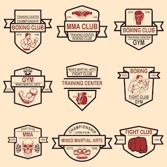 Conjunto de emblemas do clube de boxe e mma.