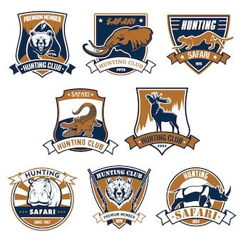 Conjunto de emblemas do clube de caça, ícones e ilustração de fitas