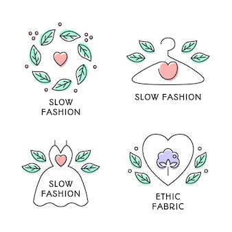 Conjunto de emblemas do conceito de moda lenta. mão-extraídas bonito estilo de linha colorida. vestido, cabide, coração, símbolos de grinalda de folhas. fabrico ecológico, roupa natural e de alta qualidade. ilustração vetorial
