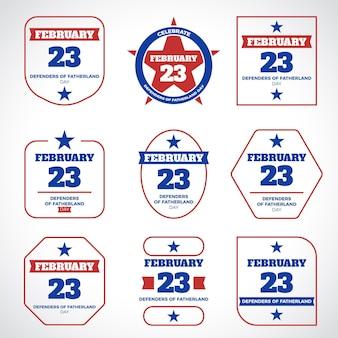 Conjunto de emblemas do dia do defensor da pátria